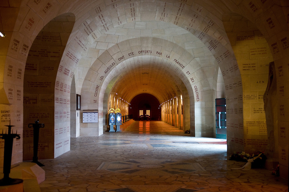 Inside the Douaumont ossuary (L'ossuaire de Douaumont) built in 1932 is a memorial containing the remains of soldiers who died at the battle of Verdun (21 February 1916 – 19 December 1916) During the battle 230.000 man died.  Ossuaire de Verdun, Verdun, Meuse, France