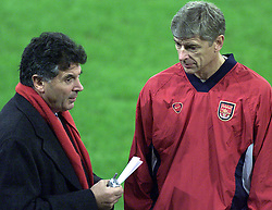 Arsene Wenger and Chairman David Dein have a chat at the  training session at FC Schalke 04 ground before their match in the Champions League in Gesenkirchen.. Photo Tom Hevezi..  THIS PICTURE CAN ONLY BE USED WITHIN THE CONTEXT OF AN EDITORIAL FEATURE. NO WEBSITE/INTERNET USE UNLESS SITE IS REGISTERED WITH FOOTBALL ASSOCIATION PREMIER LEAGUE.