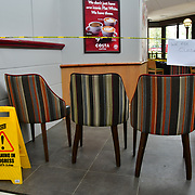 During the coronavirus in UK lockdown seen Costa totally lockdown, at Walthamstow Shopping mall,on 28 March 2020 London.