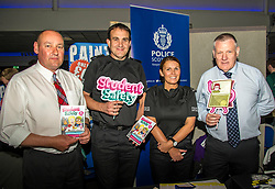 Pictured: Steve Turnbull, Security Assistant at Napier University; Inspector David Happs; PC Lyndsey Barr; PC David Cummings cyber security<br /> <br /> Police Scotland today delivered student safety advice during freshers' weeks around the country as part of the Student Safety Campaign. Inspector David Happs was on hand in Edinburgh to speak to new students.<br /> <br /> Ger Harley: 1 September 2017