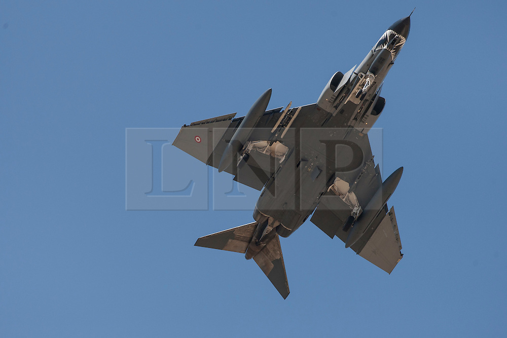 "© licensed to London News Pictures. London, UK 28/08/2011. A Turkish F-4 Phantom jet leaves Eskisehir Military Airbase on 28/08/11. Today the Syrian military has said it shot down a F-4 Phantom Turkish plane ""flying in airspace over Syrian waters"". Two crew members are being searched over Mediterranean sea. Photo credit: Tolga Akmen/LNP"