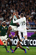 Makazole Mapimpi of South Africa (left) and Elliot Dalyof England fighting for the ball during the Rugby World Cup  final match between England and South Africa at the International Stadium ,  Saturday, Nov. 2, 2019, in Yokohama, Japan. South Africa defeated England 32-12. (Florencia Tan Jun/ESPA-Image of Sport)
