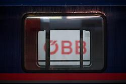 """26.11.2018, Westbahnhof, Wien, AUT, Warnstreik der Eisenbahner Gewerkschaft vida zwischen 12:00 und 14:00 Uhr. im Bild ÖBB Logo // during warning strike of the railway workers at """"Westbahnhof"""" in Vienna, Austria on 2018/11/26. EXPA Pictures © 2018, PhotoCredit: EXPA/ Michael Gruber"""
