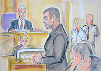 LONDON, ENGLAND - SEPTEMBER 14:  (NO BROADCAST USE - MINIMUM FEE £100 GBP) In this court sketch, George Michael stands during sentencing at Highbury Corner Magistrates Court on September 14, 2010 in London, England. Singer George Michael was arrested on July 4, 2010 after crashing his Range Rover into a shop front, and at an earlier court appearance he pleaded guilty to driving whilst under the influence of drugs and for possession of cannabis. Mr Michael was given an eight-week sentence, five-year driving ban and was fined GBP £1,250.00.  (Illustration by Priscilla Coleman/Getty Images) *** Local Caption *** George Michael
