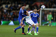 Sean Morrison , the Cardiff city capt (l) holds back Aleksander Mitrovic of Newcastle Utd.  EFL Skybet championship match, Cardiff city v Newcastle Utd at the Cardiff City Stadium in Cardiff, South Wales on Friday 28th April 2017.<br /> pic by Andrew Orchard, Andrew Orchard sports photography.