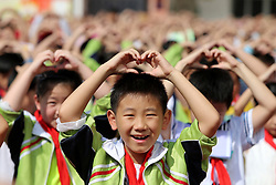 September 8, 2017 - Huaibei, Huaibei, China - Huaibei, CHINA-8th September 2017: (EDITORIAL USE ONLY. CHINA OUT)..Students express greetings of Teacher's Day to teachers at a primary school in Huaibei, east China's Anhui Province, September 8th, 2017. (Credit Image: © SIPA Asia via ZUMA Wire)