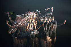 © Licensed to London News Pictures. 13/01/2015. London, England. In-camera multiple exposure. Dress rehearsal of Gandini Juggling's new show 4 x 4 Ephemeral Architectures. Four classical dancers, choreographed by former Royal Ballet First Artist Ludovic Ondiviela, join four of Gandini's jugglers. World premiere at Linbury Studio Theatre, Royal Opera House, 13 to 15 January 2015. The show is part of the London International Mime Festival and is followed by a UK tour. Dancers: Kieran Stoneley, Kate Byrne, Erion O'Toole and Joe Bishop, jugglers: Kim Huynh, Sakari Männistö, Owen Reynolds and Kati Ylä-Hokkala. Photo credit: Bettina Strenske/LNP