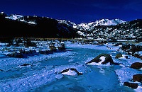 A frozen Big Thompson River at Moraine Park during the winter.  Rocky Mountain National Park, Colorado.  Photo was taken about 20 minutes before sunrise.