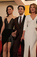 Marion Cotillard, Xavier Dolan, Nathalie Baye at the gala screening for the film It's Only the End of the World (Juste La Fin Du Monde) at the 69th Cannes Film Festival, Thursday 19th  May 2016, Cannes, France. Photography: Doreen Kennedy