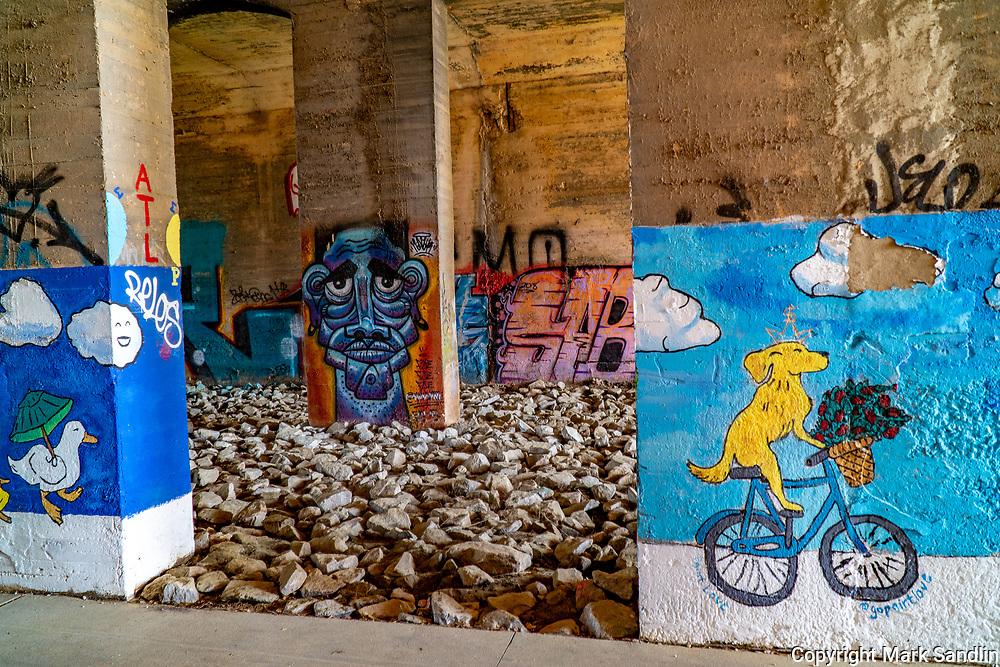 Murals and graffiti on underpass along the westside Atlanta Westside