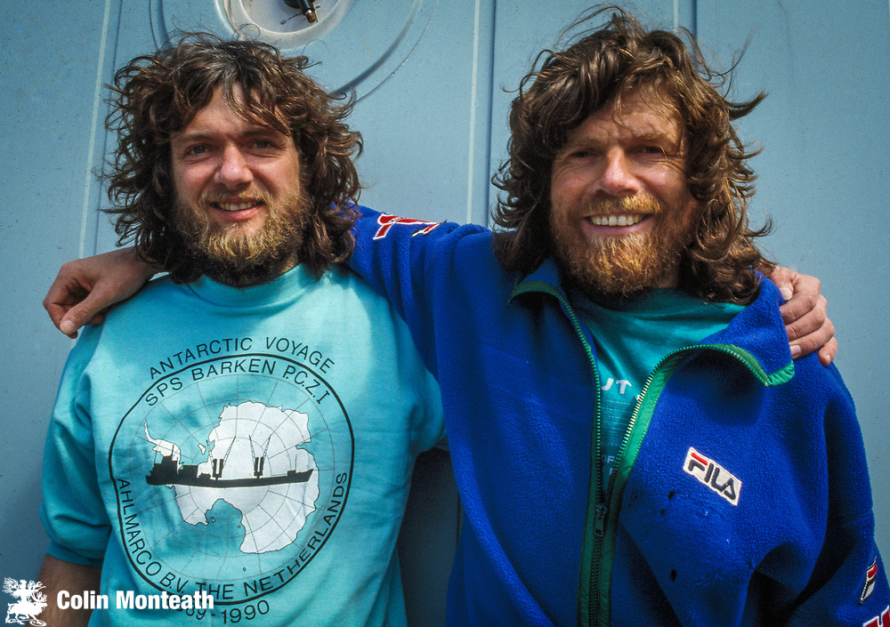 Arved Fuchs (Left) & Reinhold Messner aboard Italian Antarctic supply vessel Barken in Lyttelton, Feb 1990 after they completed the 3rd crossing of Antarctica...a ski traverse from the Weddell Sea side of the continent to Ross Island