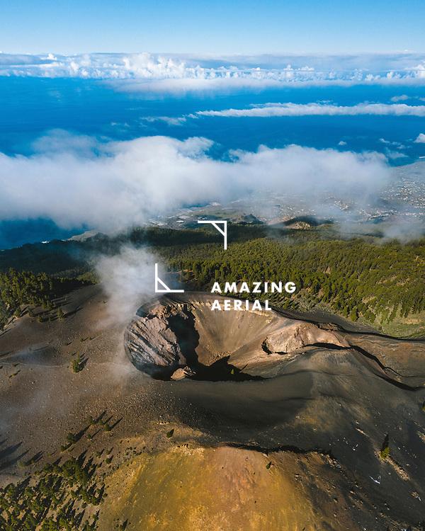 Aerial view of Duraznero volcano in Cumbre Vieja Natural park near Villa do Marzo in La Palma, Canary islands, Spain.