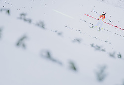 16.02.2020, Kulm, Bad Mitterndorf, AUT, FIS Ski Flug Weltcup, Kulm, Herren, 1. Wertungsdurchgang, im Bild Stefan Kraft (AUT) // Stefan Kraft of Austria during his 1st Competition Jump for the men's FIS Ski Flying World Cup at the Kulm in Bad Mitterndorf, Austria on 2020/02/16. EXPA Pictures © 2020, PhotoCredit: EXPA/ JFK