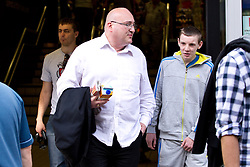 © Licensed to London News Pictures .  08/09/2012 . Manchester, UK . Domenyk Noonan , recently released from prison , shops in Lidl in Manchester 's Arndale Centre , accompanied by his Nephew , Kieran Noonan (in grey tracksuit) . The area was the scene of looting and rioting on 9th August 2011 , during which Noonan was arrested . Noonan has announced he plans to sue the police over the  arrest . Under the terms of a previous early release , the arrest lead to him being recalled to prison . Photo credit : Joel Goodman/LNP