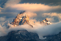 Clearing storm clouds ovder the Grand Teton, Grand Teton National Park