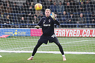 AFC Wimbledon goalkeeper Aaron Ramsdale (35) warming up0 during the EFL Sky Bet League 1 match between AFC Wimbledon and Barnsley at the Cherry Red Records Stadium, Kingston, England on 19 January 2019.