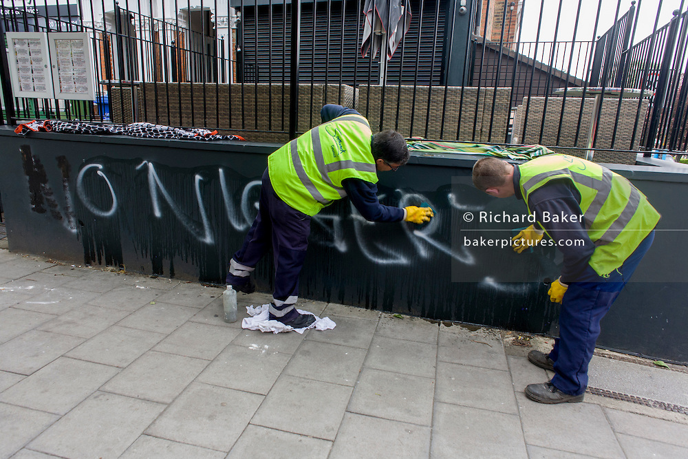 Racist graffiti has been sprayed on a wall on Herne Hill in the south London borough of Southwark. Appearing some time over the weekend, the offensive message was left outside a jazz bar called Dee Dee's in an otherwise very affluent suburb of the capital, making this offence very unusual and shocking many residents. It was initially partly painted over then covered by sheets before council workmen appeared to remove the graffiti within 30mins after it being reported.