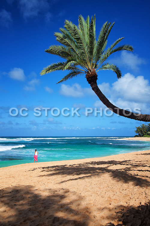 Girl Standing on the Beach at the Shoreline in Hawaii