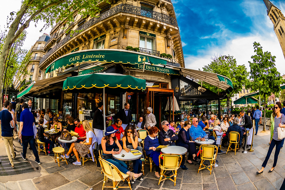Les Deux Magots is a famous café in the Saint-Germain-des-Prés area of Paris, France. It once had a reputation as the rendezvous of the literary and intellectual élite of the city. It is now a popular tourist destination