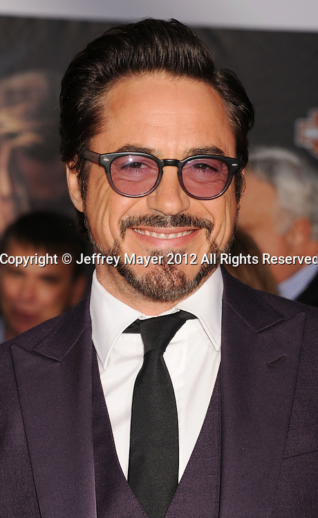 HOLLYWOOD, CA - APRIL 11: Robert Downey Jr. attends the World premiere of 'Marvel's Avengers' at the El Capitan Theatre on April 11, 2012 in Hollywood, California.
