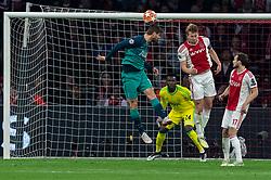 08-05-2019 NED: Semi Final Champions League AFC Ajax - Tottenham Hotspur, Amsterdam<br /> After a dramatic ending, Ajax has not been able to reach the final of the Champions League. In the final second Tottenham Hotspur scored 3-2 / Matthijs de Ligt #4 of Ajax, Daley Blind #17 of Ajax, Andre Onana #24 of Ajax, Fernando Llorente #18 of Tottenham Hotspur