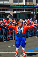 Rocky the Broncos Leprechaun (a super fan), Denver Broncos Super Bowl 50 Victory Parade, Downtown Denver, Colorado USA.