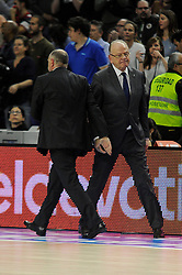 15.04.2015, Palacio de los Deportes stadium, Madrid, ESP, Euroleague Basketball, Real Madrid vs Anadolu Efes Istanbul, Playoffs, im Bild Real Madrid´s coach Pablo Laso and Anadolu Efes´s coach Dusan Ivkovic // during the Turkish Airlines Euroleague Basketball 1st final match between Real Madrid vand Anadolu Efes Istanbul t the Palacio de los Deportes stadium in Madrid, Spain on 2015/04/15. EXPA Pictures © 2015, PhotoCredit: EXPA/ Alterphotos/ Luis Fernandez<br /> <br /> *****ATTENTION - OUT of ESP, SUI*****