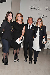 Left to right, PRINCESS EUGENIE OF YORK, SARAH, DUCHESS OF YORK, VALENTINO and PRINCESS BEATRICE OF YORK at a private view of 'Valentino: Master Of Couture' at Somerset House, London on 28th November 2012.