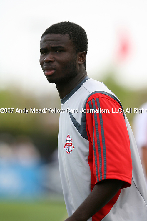 31 March 2007: Toronto's Richard Asante.  The United Soccer League Division 1 Charleston Battery lost to Major League Soccer expansion team Toronto FC 3-0 in a preseason game at Blackbaud Stadium on Daniel Island in Charleston, SC, as part of the Carolina Challenge Cup.