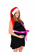 Beware at Christmas Parties: Gift wrapped pregnant woman with Santa hat
