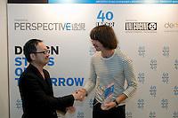 The Australian industrial designer Ben McCarthy receives his 40 Under 40 Perspective magazine award.