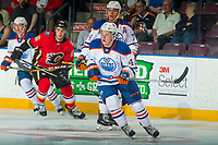 PENTICTON, CANADA - SEPTEMBER 8:  Lane Bauer #42 of Edmonton Oilers skates against the Calgary Flames on September 8, 2017 at the South Okanagan Event Centre in Penticton, British Columbia, Canada.  (Photo by Marissa Baecker/Shoot the Breeze)  *** Local Caption ***