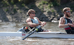 © Licensed to London News Pictures. 06/04/2012. London, U.K..David Nelson of The Cambridge crew Rowing at The Xchanging Oxford & Cambridge University Boat Race practice and preparation today Friday 6th April ready for The boat race on saturday 7th April...Photo credit : Rich Bowen/LNP