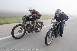 A pair of class-1, single-cylinder, single speed bikes. Dean Bordigioni (L) of CA rides his 1914 Harley-Davidson next to Ciro Nisi of Italy on 1912 Indian during the during the Motorcycle Cannonball Race of the Century. Stage-8 from Wichita, KS to Dodge City, KS. USA. Saturday September 17, 2016. Photography ©2016 Michael Lichter.