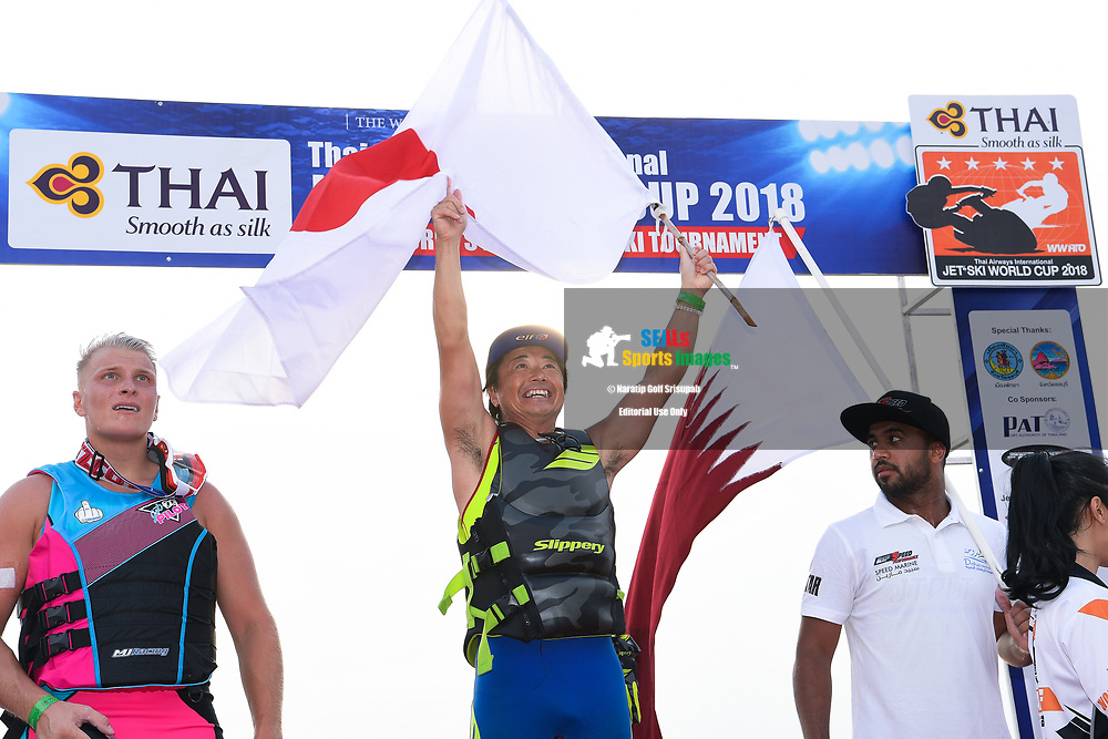 PATTAYA, THAILAND - DECEMBER 09: Hajime Isahai (J87) of Japan and Marine Mechanic reaction on the podium during the Royal Trophy presentation for the Pro Runabout GP at the Thai Airways International Jet Ski World Cup 2018, Jomtien Beach, Pattaya, Thailand on December 09, 2018. <br /> .<br /> .<br /> .<br /> (Photo by: Naratip Golf Srisupab/SEALs Sports Images)<br /> .<br /> Any image use must include a mandatory credit line adjacent to the content which should read: Naratip Golf Srisupab/SEALs Sports Images