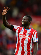 Mame Diouf of Stoke city waves to the fans after their win. Premier league match, Stoke City v Arsenal at the Bet365 Stadium in Stoke on Trent, Staffs on Saturday 19th August 2017.<br /> pic by Bradley Collyer, Andrew Orchard sports photography.