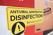 Small business offering antiviral sanitation disinfection service under coronavirus lockdown on 30th June 2020 in London, England, United Kingdom. Theatreland has taken a big hit as social distancing has not allowed audiences to return and so doors and box offices are shut. As the July deadline approaces and government will relax its lockdown rules further, the West End remains quiet, while some non-essential shops are allowed to open with individual shops setting up social distancing systems.