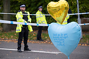 Two days after the killing of the Conservative member of parliament for Southend West, Sir David Amess MP, balloon tributes from Southend's Muslim community are left in Eastwood Road North, a short distance from Belfairs Methodist Church in Leigh-on-Sea, on 17th October 2021, in Leigh-on-Sea, Southend , Essex, England. Amess was conducting his weekly constituency surgery when attacked with a knife by Ali Harbi Ali.