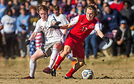 CBC's Nate Temm and Chaminade's Vincent Laury battle for the ball during a Class 4 quarterfinal soccer match on Saturday, Nov. 10, 2018, at Chaminade College Preparatory School in Creve Coeur, Mo.  Gordon Radford   Special to STLhighschoolsports.com
