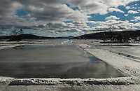 With freezing temperatures expected overnight the Meredith Pond Hockey Rinks should have a smooth sheen tomorrow morning after the thaw meltdown and rain over the past 24 hours in the region. (Karen Bobotas/for the Laconia Daily Sun)
