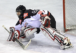 Goalkeeper of Jesenice Gaber Glavic at 39th Round of EBEL League ice hockey match between HDD Tilia Olimpija and HK Acroni Jesenice, on December 30, 2008, in Arena Tivoli, Ljubljana, Slovenia. Tilia Olimpija won 4:3. (Photo by Vid Ponikvar / SportIda).