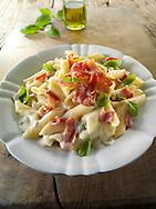 Pasta Carbonara - pasta in a cream cheese sauce with bacon