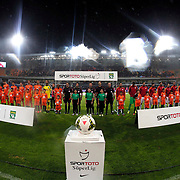 Istanbul Basaksehir's and Galatasaray's players during their Turkish Super League soccer match Istanbul Basaksehir between Galatasaray at the Basaksehir Fatih Terim Arena at Basaksehir in Istanbul Turkey on Sunday, 26 October 2014. Photo by Aykut AKICI/TURKPIX