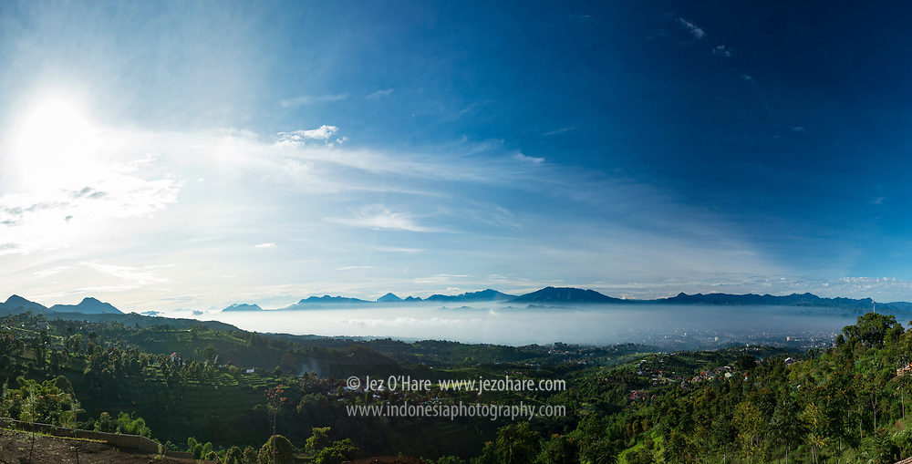 Bandung & the mountains of Garut seen from Punclut, Bandung, West Java, Indonesia.