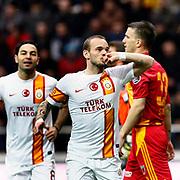 Galatasaray's Wesley Sneijder (F) celebrate his goal during their Turkish superleague soccer match Kayserispor between Galatasaray at Kadir Has Stadium in Kayseri Turkey on Sunday, 17 March 2013. Photo by TURKPIX