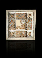 Pictures of a geometric Roman mosaics with strap work and cruciform flowers and in the centre a damaged depiction of a running deer, from the ancient Roman city of Thysdrus, Jilani Guirat area. 3rd century AD. El Djem Archaeological Museum, El Djem, Tunisia. Against a black background .<br /> <br /> If you prefer to buy from our ALAMY PHOTO LIBRARY Collection visit : https://www.alamy.com/portfolio/paul-williams-funkystock/roman-mosaic.html . Type - El Djem - into the LOWER SEARCH WITHIN GALLERY box. Refine search by adding background colour, place, museum etc<br /> <br /> Visit our ROMAN MOSAIC PHOTO COLLECTIONS for more photos to download as wall art prints https://funkystock.photoshelter.com/gallery-collection/Roman-Mosaics-Art-Pictures-Images/C0000LcfNel7FpLI