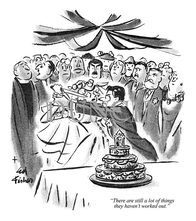 """""""There are still a lot of things they haven't worked out."""" (a Punch cartoon shows a couple of newlyweds breaking into a fight before cutting the wedding cake)"""