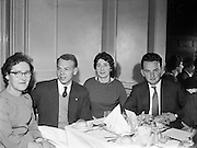 Kerryman's Association Annual Dinner..1960..30.01.1960..01.30.1960..30th January 1960..The annual dinner of the Kerryman's Association held its annual dinner in the Dolphin Hotel, Dublin...Image of (left to right),Ms Mary Palmer, Kenmare, Hon Treasurer of the Association, Mr Pat Diggin, Causeway, Press Officer, Ms Maureen Dunleavy, Kenmare, Hon Secretary and Mr Sean Loftus, Dingle who attended the dinner.