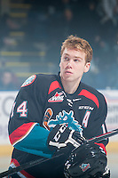 KELOWNA, CANADA - DECEMBER 5: Rourke Chartier #14 of the Kelowna Rockets skates after the national anthem on December 5, 2014 at Prospera Place in Kelowna, British Columbia, Canada.  (Photo by Marissa Baecker/Shoot the Breeze)  *** Local Caption *** Rourke Chartier;