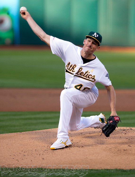 Sep 7, 2019; Oakland, CA, USA; Oakland Athletics starting pitcher Chris Bassitt (40) delivers against the Detroit Tigers during the inning of a baseball game at Oakland Coliseum. Mandatory Credit: D. Ross Cameron-USA TODAY Sports